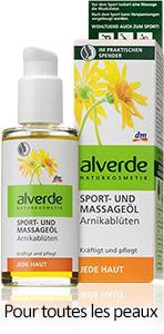 """Huile de Massage Alverde """"Sport"""" aux fleurs d'Arnica, 100 ml"""